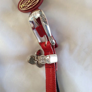 Brighton Red Skinny Leather Belt w/ Charms NWT 30